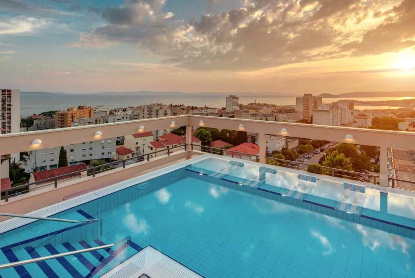 Dioklecijan Hotel & Residence rooftop view of sunset in Split, Croatia