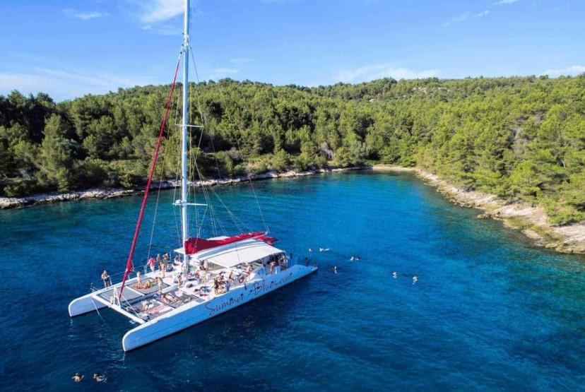 Hvar & Pakleni islands tour Croatia, day tours from Split, catamaran Croatian islands, Adriatic sea, Mediterranean tour, Brač, Šolta, Pakleni islands, and Hvar, Summer Blues