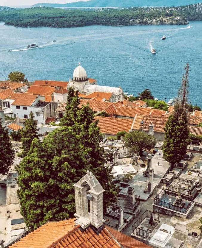 The spectacular view of Sibenik and Adriatic sea from St. Michaels Fortress, open-air stage that hosts concerts