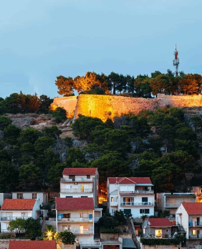 St. John's Fortress is the highest of all 5 fortresses surrounding the Šibenik, stunning view on old town in Croatia